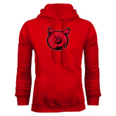 Red Fleece Hoodie-Pig Butt Logo