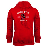 Red Fleece Hoodie-Arched Est Year