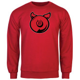 Red Fleece Crew-Pig Butt Logo