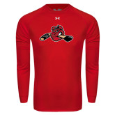 Under Armour Red Long Sleeve Tech Tee-Hammy w/ Hockey Stick