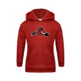 Youth Red Fleece Hoodie-Hammy w/ Hockey Stick