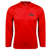 Performance Red Longsleeve Shirt-Hammy w/ Hockey Stick