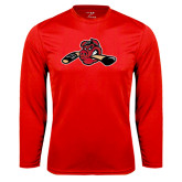 Syntrel Performance Red Longsleeve Shirt-Hammy w/ Hockey Stick