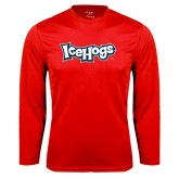 Performance Red Longsleeve Shirt-IceHogs Wordmark