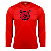 Performance Red Longsleeve Shirt-Pig Butt Logo