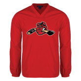 V Neck Red Raglan Windshirt-Hammy w/ Hockey Stick