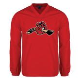 V Neck Red Raglan Windshirt-Hammy w/ Hockey Stick