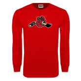 Red Long Sleeve T Shirt-Hammy w/ Hockey Stick