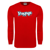 Red Long Sleeve T Shirt-IceHogs Wordmark