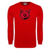 Red Long Sleeve T Shirt-Pig Butt Logo