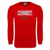 Red Long Sleeve T Shirt-Hockey Bar Design