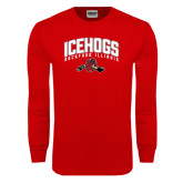 Red Long Sleeve T Shirt-Arched IceHogs