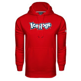 Under Armour Red Performance Sweats Team Hood-IceHogs Wordmark