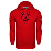 Under Armour Red Performance Sweats Team Hood-Pig Butt Logo