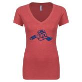 Next Level Ladies Vintage Red Tri Blend V-Neck Tee-Hammy w/ Hockey Stick