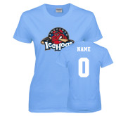 Ladies Sky Blue T-Shirt-Primary Mark, Custom tee w/ Name and #