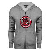 ENZA Ladies Grey Fleece Full Zip Hoodie-Badge