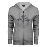 ENZA Ladies Grey Fleece Full Zip Hoodie-Hammy w/ Hockey Stick