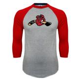 Grey/Red Raglan Baseball T-Shirt-Hammy w/ Hockey Stick