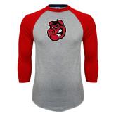 Grey/Red Raglan Baseball T-Shirt-Hammy Head