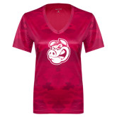 Ladies Pink Raspberry Camohex Performance Tee-Hammy Head