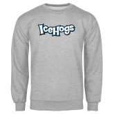 Grey Fleece Crew-IceHogs Wordmark