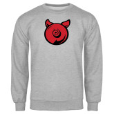 Grey Fleece Crew-Pig Butt Logo