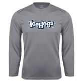Performance Steel Longsleeve Shirt-IceHogs Wordmark