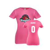 Youth Girls Fuchsia Fashion Fit T Shirt-Primary Mark, Custom tee w/ Name and #