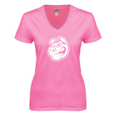 Next Level Ladies Junior Fit Ideal V Pink Tee-Hammy Head