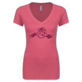 Next Level Ladies Vintage Pink Tri Blend V-Neck Tee-Hammy w/ Hockey Stick