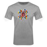 Sport Grey T Shirt-Autism Puzzle Piece