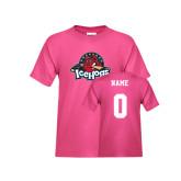 Youth Fuchsia T Shirt-Primary Mark, Custom tee w/ Name and #