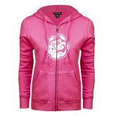ENZA Ladies Fuchsia Fleece Full Zip Hoodie-Hammy Head