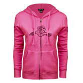 ENZA Ladies Fuchsia Fleece Full Zip Hoodie-Hammy w/ Hockey Stick