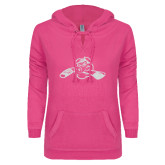ENZA Ladies Hot Pink V Notch Raw Edge Fleece Hoodie-Hammy w/ Hockey Stick