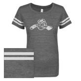 ENZA Ladies Dark Heather/White Vintage Triblend Football Tee-Hammy w/ Hockey Stick