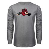 Grey Long Sleeve T Shirt-Hammy w/ Hockey Stick