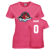 Ladies Fuchsia T Shirt-Primary Mark, Custom tee w/ Name and #