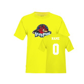 Youth Neon Yellow T Shirt-Primary Mark, Custom tee w/ Name and #