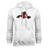 White Fleece Hoodie-Hammy w/ Hockey Stick