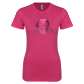 Next Level Ladies SoftStyle Junior Fitted Fuchsia Tee-Primary Mark Foil