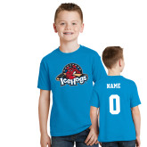 Youth Sapphire T Shirt-Primary Mark, Custom tee w/ Name and #