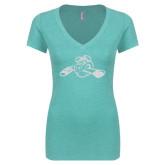 Next Level Ladies Vintage Tahiti Blue Tri Blend V Neck Tee-Hammy w/ Hockey Stick