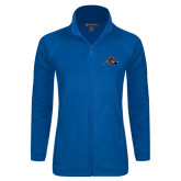 Ladies Fleece Full Zip Royal Jacket-Hammy w/ Hockey Stick