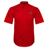 Red Twill Button Down Short Sleeve-Hammy w/ Hockey Stick