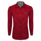 Ladies Red Twill Button Down Long Sleeve-Hammy w/ Hockey Stick