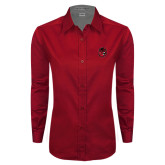 Ladies Red Twill Button Down Long Sleeve-Hammy Head
