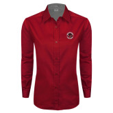 Ladies Red Twill Button Down Long Sleeve-Badge
