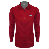 Ladies Red Twill Button Down Long Sleeve-IceHogs Wordmark